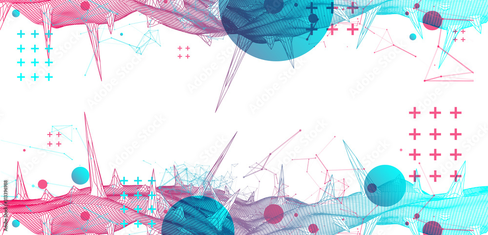 Fototapeta Wireframe science background with plexus effect. Futuristic vector illustration.