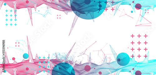 Obraz Wireframe science background with plexus effect. Futuristic vector illustration. - fototapety do salonu