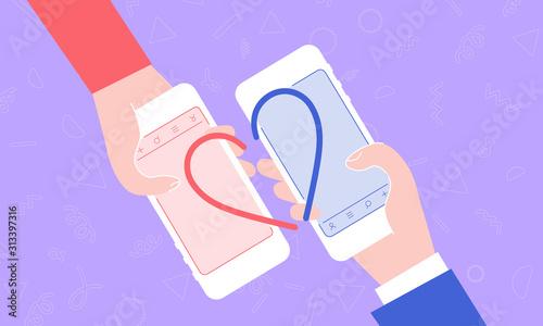 фотография マッチングアプリ、男性と女性の手のイラスト