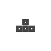 Vector Icon Arrow Button Keyboard On White Isolated Background.