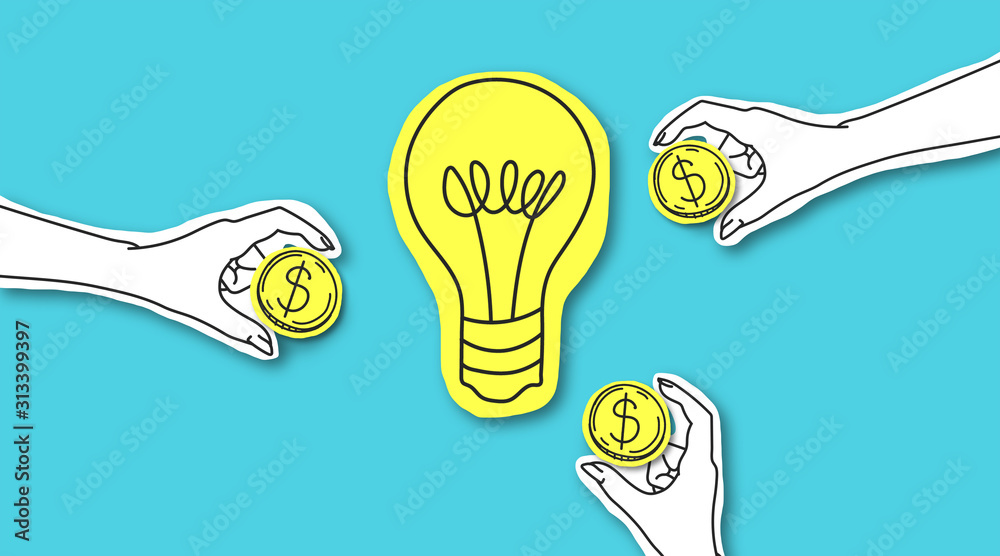 Fototapeta Hands with dollar sign coins around yellow light bulb