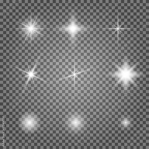 Valokuva Light flare vector effect set
