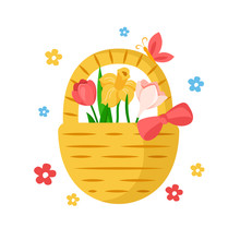Cartoon Easter Day Basket With Leaves And Spring Flowers - Tulip, Daffodil, Floral Holiday Bouquet, Holiday Illustration Isolated On White, Ideal For Cute Greeting Postcards, Prints, Poster - Vector