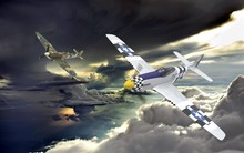 3D Rendering Of Two World War Two Airplanes Flying In Formation In The Clouds