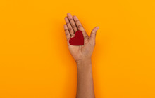 Red Felt Heart In Opened Palm ...