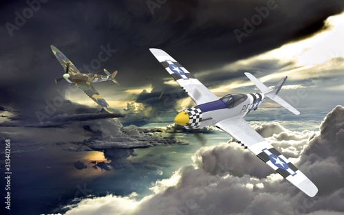 Photo 3D rendering of Two world war two airplanes flying in formation in the clouds