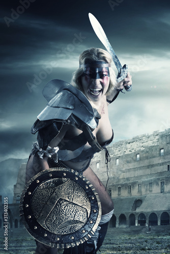 Leinwand Poster woman gladiator/Ancient warrior