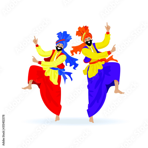 Obraz na plátně Two happy bearded Sikh men in turbans, colorful clothes, dancing traditional bhangra dance on Indian festival Lohri, party
