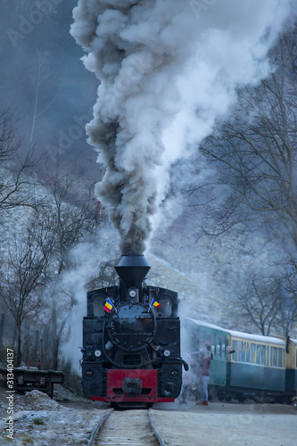 Valokuvatapetti Steam train puffing along the tracks