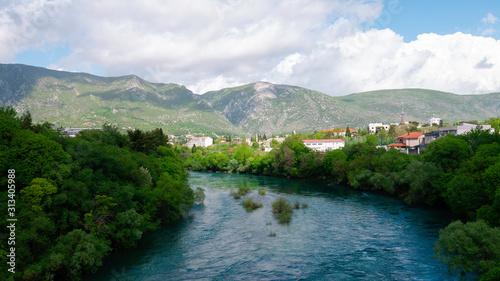 Fototapeta View of the Neretva River from the Carinski (emperor's) bridge. obraz na płótnie