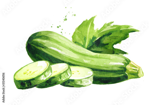 Green whole and cut zucchini vegetable with leaf Canvas Print