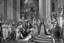 The Coronation Of Napoleon In The Cathedral Of Notre Damme. 2nd. December 1804. Antique Illustration. 1890.