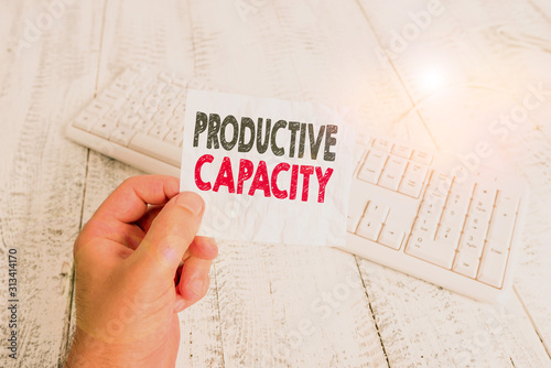 Photo Writing note showing Productive Capacity