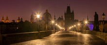 Prague - Charles Bridge In The Morning Dusk