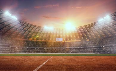3-D athletics stadium on sunset. Render 3-d.