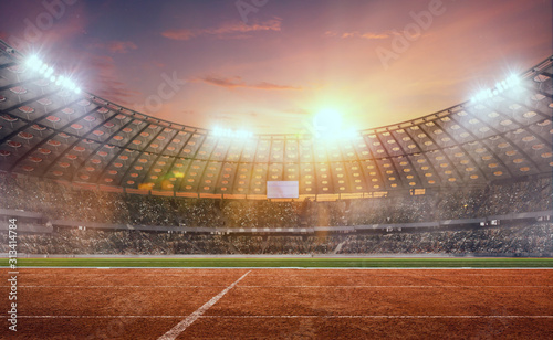 Fotografie, Tablou 3-D athletics stadium on sunset. Render 3-d.