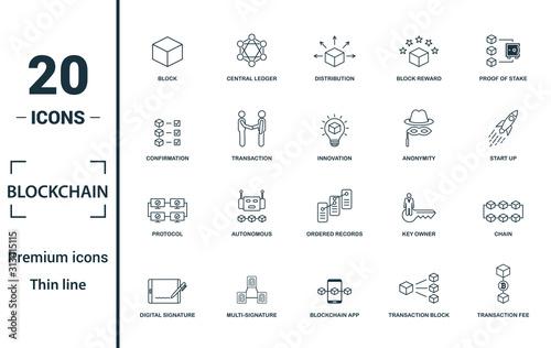 Fotografía Blockchain icon set