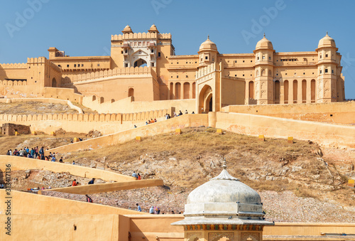 Gorgeous view of the Amer Fort and Palace, Jaipur, India Canvas Print