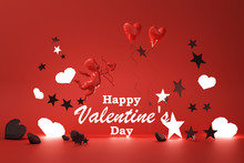 Valentine's Day Glow Concept Red Background With Red .Cupid And Red Hearts With Black Star And Decoration 3d Rendering