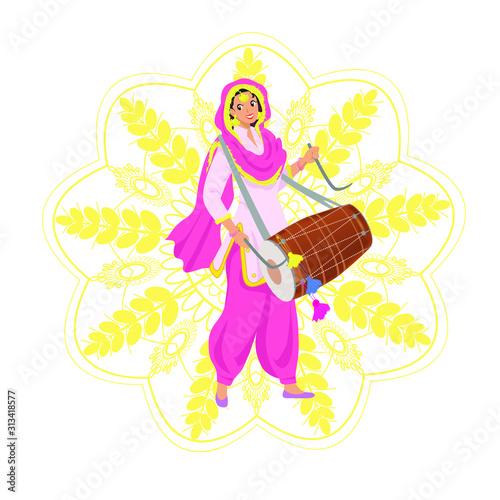 Cuadros en Lienzo Happy smiling young Sikh woman in Punjabi pink salwar kameez suit, dupatta shawl, playing traditional dhol drum on Indian harvest festival Lohri, party