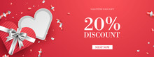 Valentine's Day Sale Promo Background, Holiday Event Advertisement Banner Vector