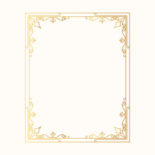 Hand Drawn Golden Vintage Wedding Frame. Vector Isolated Gold Design Royal Victorian Border.