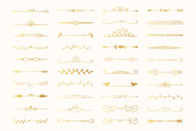 Collection Of Hand Drawn Golden Text Dividers. Calligraphic Lines, Vintage Gold Borders And Wedding Card Breaks. Vector Isolated Flourish Ink Elements.