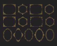 Hand Drawn Golden Set Of Vintage Wedding Oval, Round And Squared Frames. Vector Isolated Gold Royal Victorian Borders.
