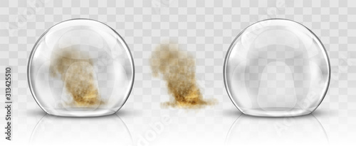 Leinwand Poster Glass dome or sphere and sandstorm realistic vector