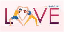 Happy Valentine's Day  Banner With Couple Yoga Poses. Year Of Good Health. Landing Page Design Templates For Valentine's Day Decoration In Partner Yoga Concept. Vector Illustration.