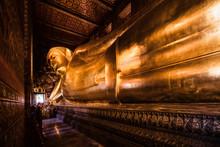 Famous Golden Reclining Buddha Statue At Wat Pho Bangkok Thailand