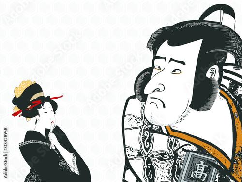 Obraz na plátně 浮世絵 写楽と歌麿の浮世絵をアレンジしたイラスト、日本語、イラスト、日本画、背景、壁紙、ウェブサイト、挿絵、 ukiyo-e sharaku utamaro J