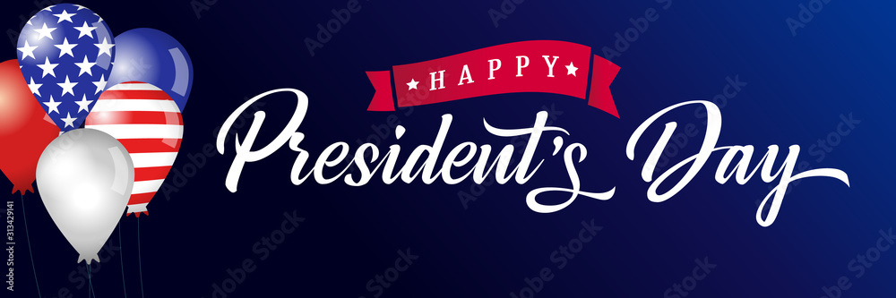 Fototapeta Happy Presidents Day lettering poster, USA balloons and flags. Happy President`s Day 17th february for web banner or special offer vector illustration