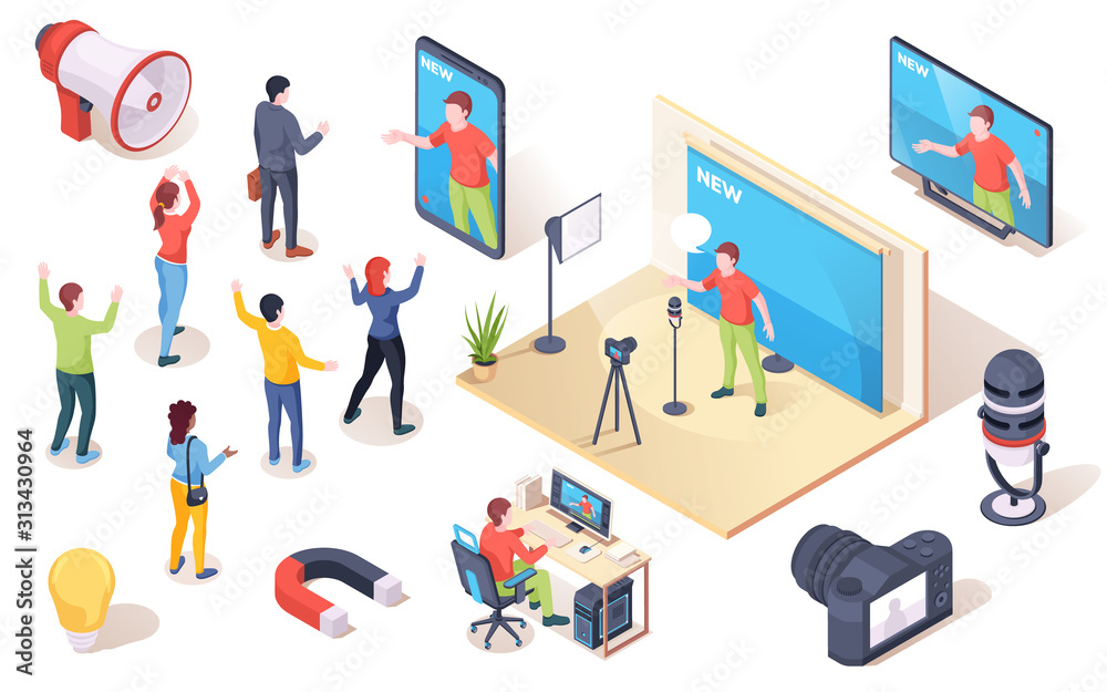 Fototapeta Social influencer, brand opinion leader and marketing audience influence, vector isometric icons. People following influencer blogger and social media authority and digital SMM marketing concept