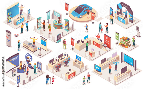 Valokuva Expo center and trade show exhibition product display stands, vector isometric icons