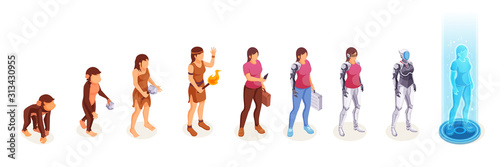 Fototapeta Human evolution of woman from monkey to digital technology world robot and cyborg technology. Life development process and people evolution from apes to modern life artificial intelligence obraz