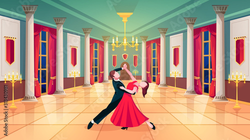 Foto Ballroom hall, waltz dancers in royal palace room, vector background