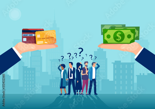 Fotomural Vector of confused people being offered cash and cashless method of payment