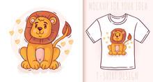 Cartoon Cute Baby Lion. Vector...