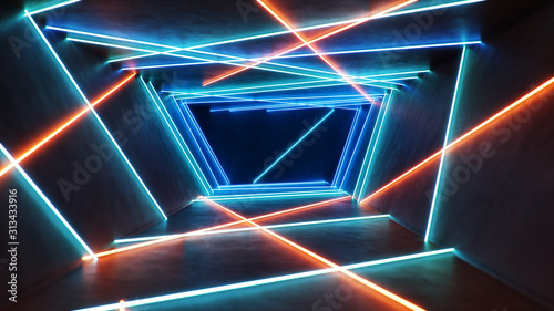 Fotografia Abstract blue and red interior with neon light