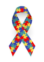 Colorful Satin Puzzle Ribbon As Symbol Autism Awareness. Isolated Vector Illustration On White Background