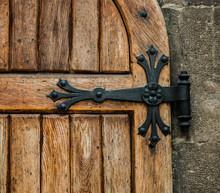 Antique Castle Wood Door With Iron Elements
