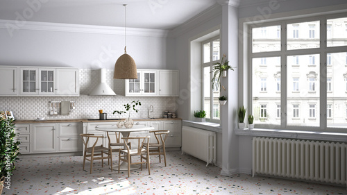 Retro white vintage kitchen with terrazzo marble floor and panoramic windows, dining room, round table with wooden chairs, potted plants, radiators, pendant lamp, cozy interior design