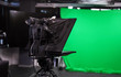 canvas print picture - Modern video recording studio with professional equipment, focus on camera