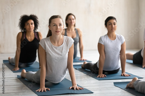 Fototapeta Diverse women doing cobra exercise at group lesson, practicing yoga obraz