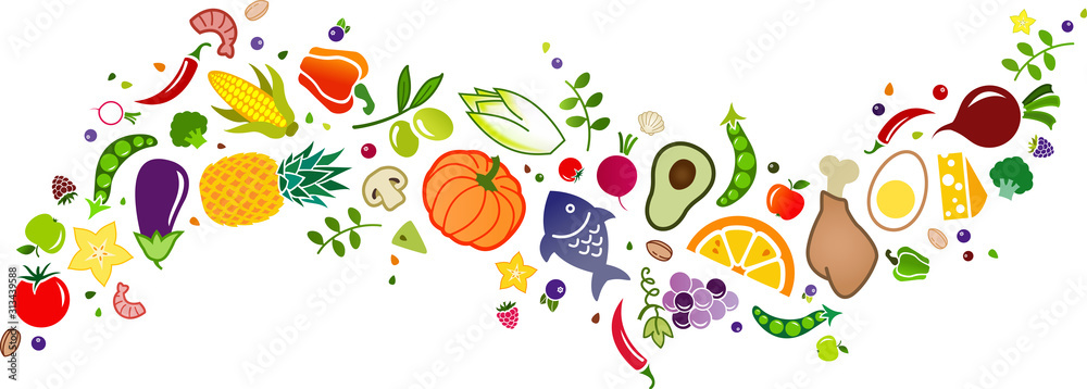 Fototapeta healthy, colorful & balanced diet, food icon banner: flat lay of cartoon foods and ingredients isolated on white – vector illustration