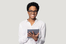 African Woman Holding Tablet Do Remote Online Work Studio Shot