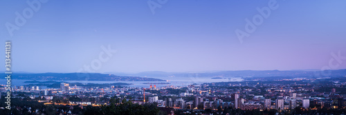 Panoramic view over oslo in the evening. Wallpaper Mural
