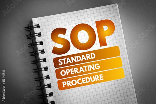 Vászonkép SOP - Standard Operating Procedure acronym, business concept background