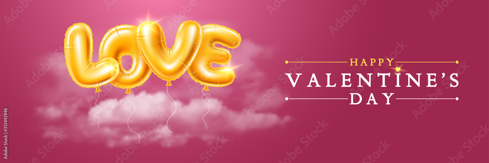 Fototapeta Happy Valentines Day Greeting Banner With Golden Balloons Letters LOVE